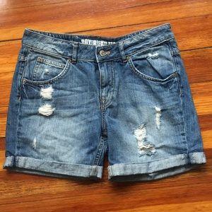 HM Boyfriend Fit Ripped Denim Shorts